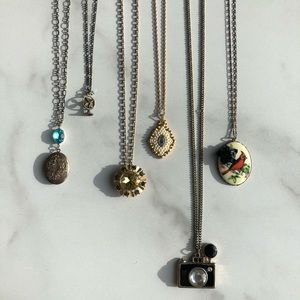 Lot of 6 Vintage Necklaces Locket Jeweled Costume
